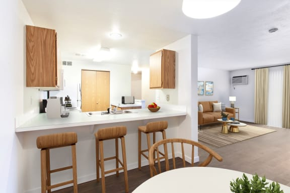 GoGo West Apartments 2 Bedroom Model Kitchen and Breakfast Bar