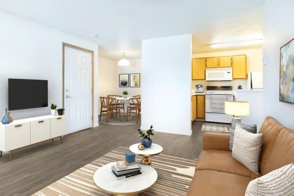 GoGo West Apartments 2 Bedroom Floor Plan Model Living Room and Kitchen