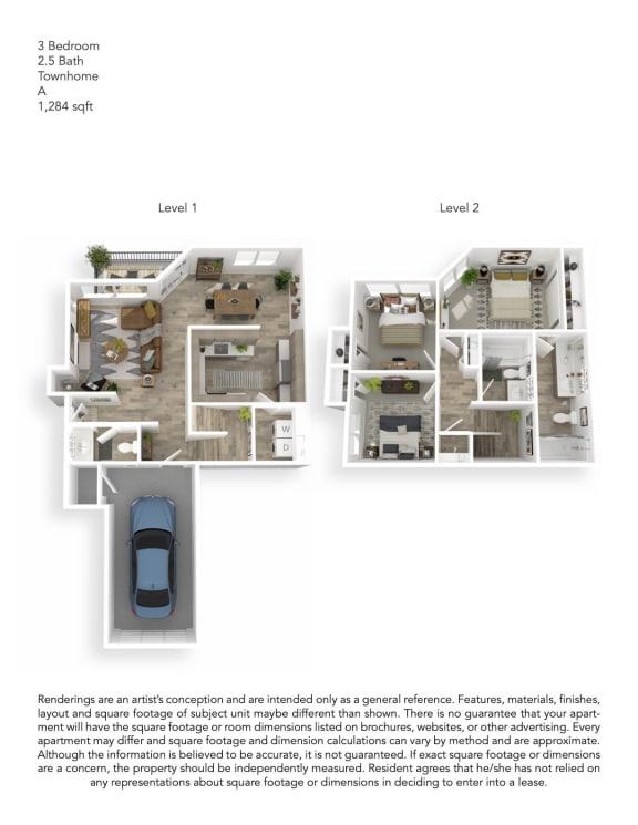 Echo Mountain Apartments 3 Bedroom 2.5 Bathroom Townhouse Floor Plan