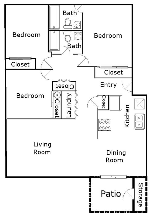 Hood Manor Apartments 3x2 Type 2 Floor Plan