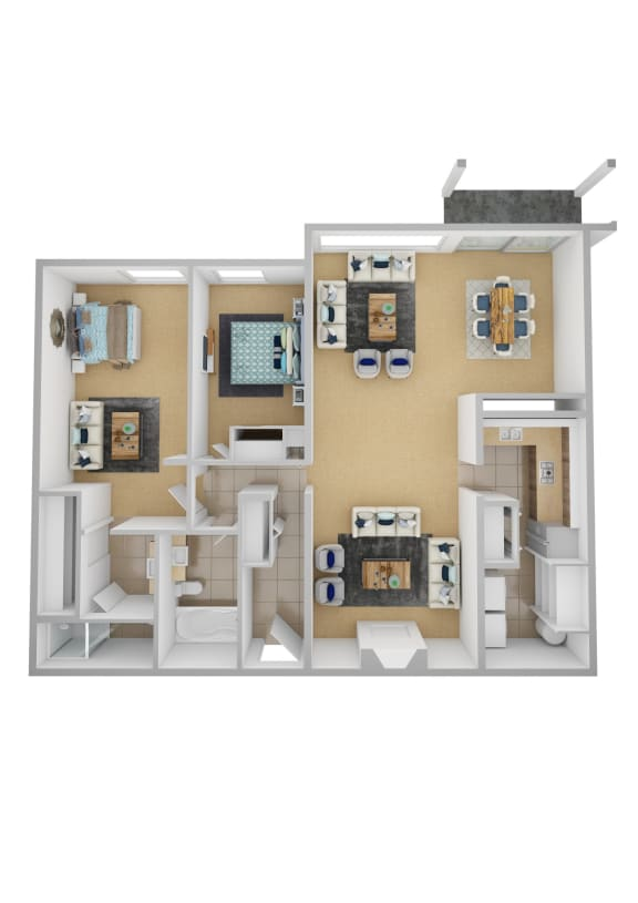 Yarrowood Highlands Apartments 2 Bedroom 2 Bath 3D Floor Plan