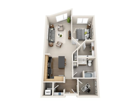 Waterscape at Juanita Village Apartments A1AD Floor Plan