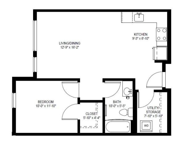 Floor Plan  1 Bed 1 Bath Small