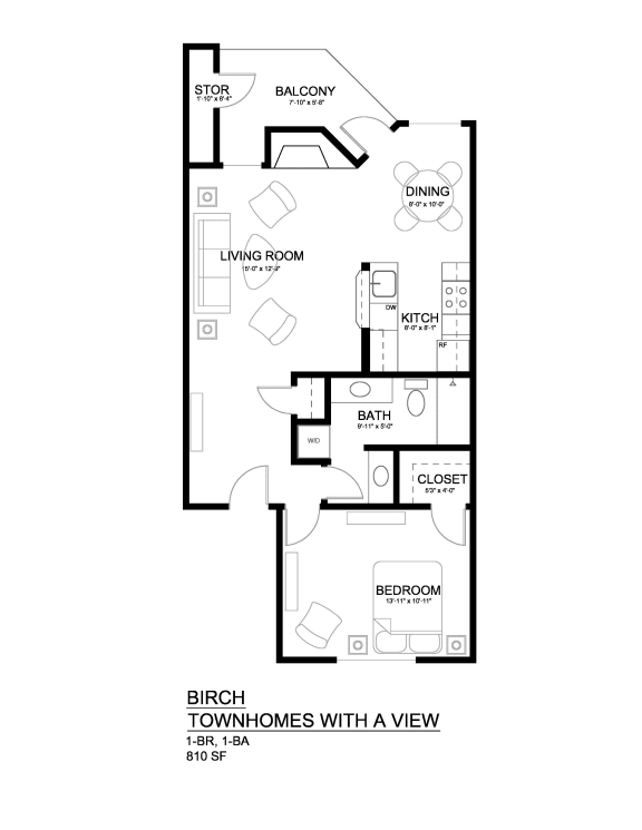 Townhomes with a View Birch 1x1 Modern w/FP Floor Plan