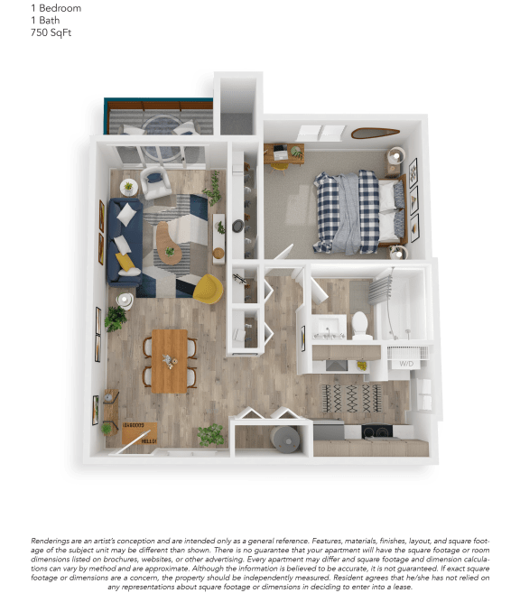 Floor Plan  Clover Creek One Bedroom One Bathroom Floor Plan