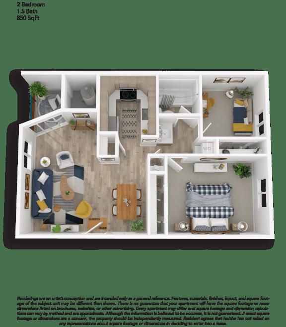 Floor Plan  Clover Creek Two Bedroom One Bathroom Floor Plan