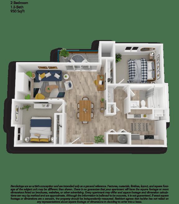 Floor Plan  Clover Creek Two Bedroom One and a Half Bathrooms Floor Plan