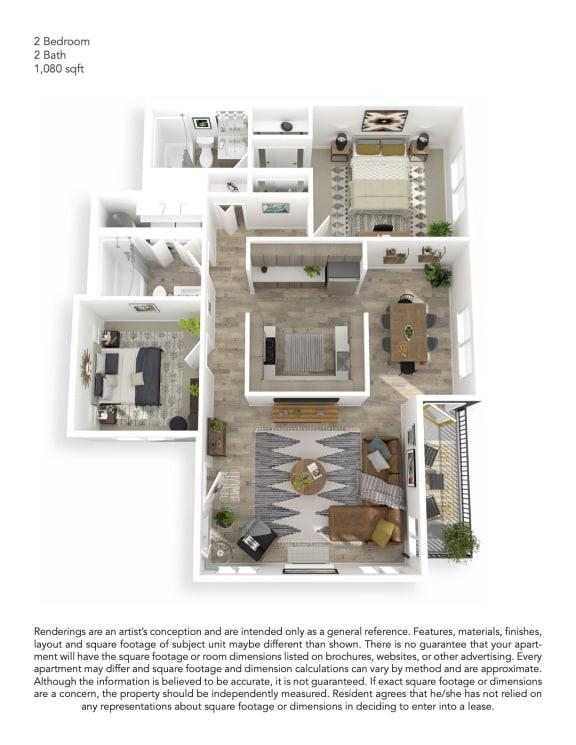 Echo Mountain Apartments Two Bedroom Two Bathroom Floor Plan