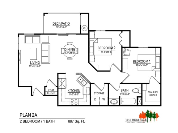 The Heritage Apartment Community 2A Floor Plan
