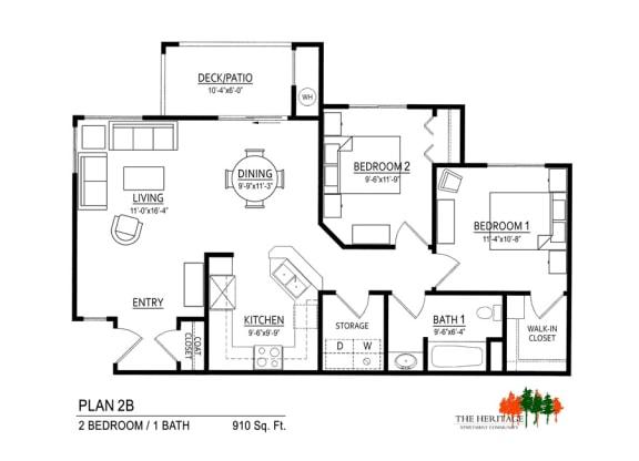 The Heritage Apartment Community 2B Floor Plan