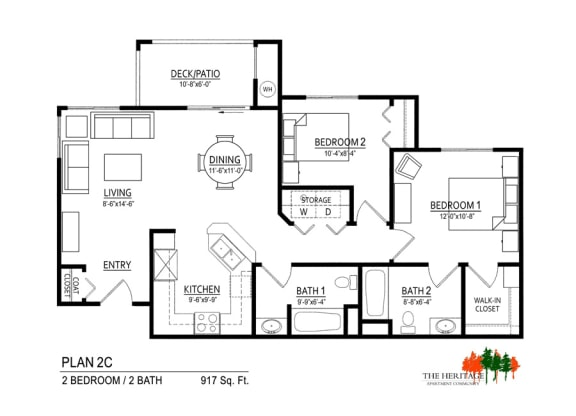 The Heritage Apartment Community 2C Floor Plan