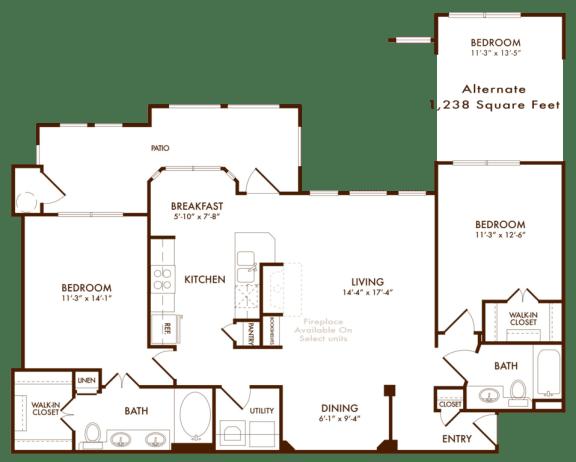 Hudson Miramont Apartments B3 Floor Plan
