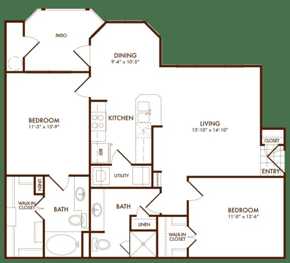 Hudson Miramont Apartments B1 Floor Plan