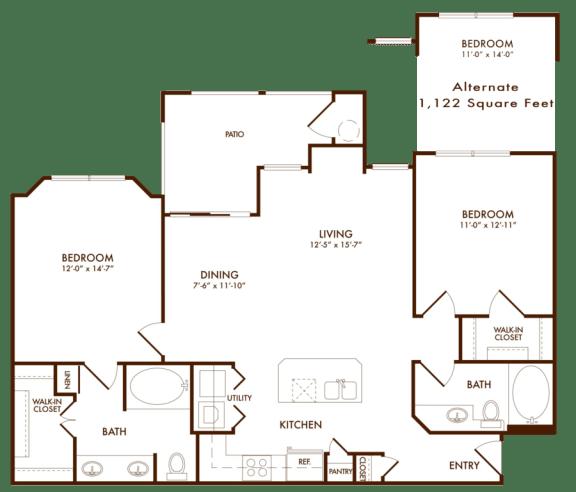 Hudson Miramont Apartments B2 Floor Plan
