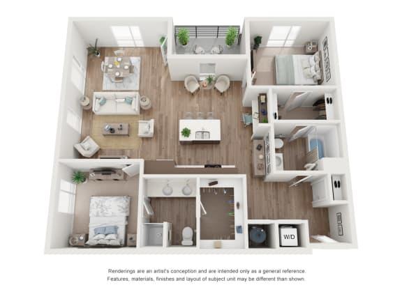 West 38 Apartments Two Bedrooms Two Bathrooms D Floor Plan