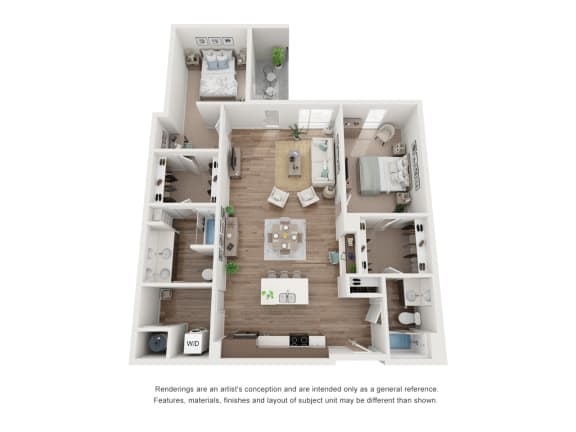West 38 Apartments Two Bedrooms Two Bathrooms F Floor Plan