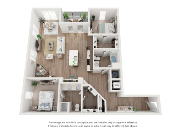 West 38 Apartments Two Bedrooms Two Bathrooms G Floor Plan