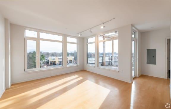Bright Living Room at Park77, Cambridge, 02138