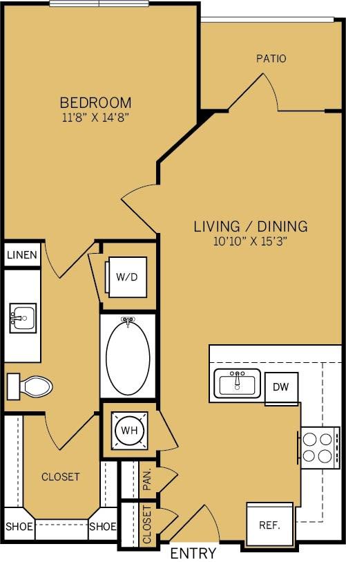Floor Plan  1 Bedroom 1 Bathroom Floor plan at The Kelley, Texas, 76102