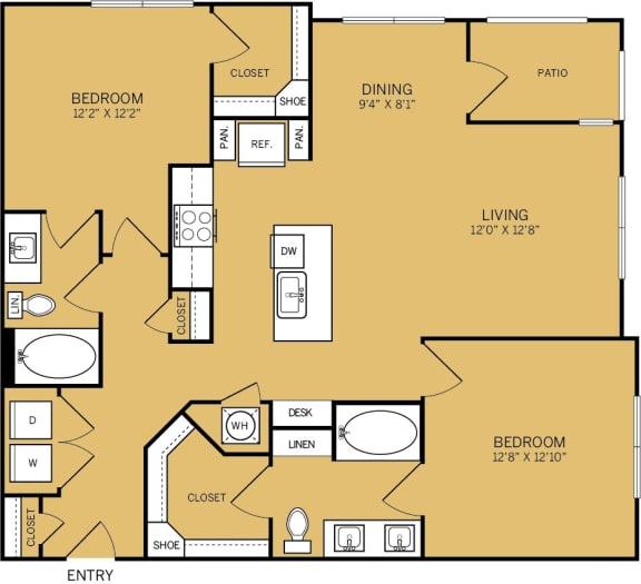 Floor Plan  2 Bedroom 2 Bathroom C Floor plan at The Kelley, Ft. Worth, Texas