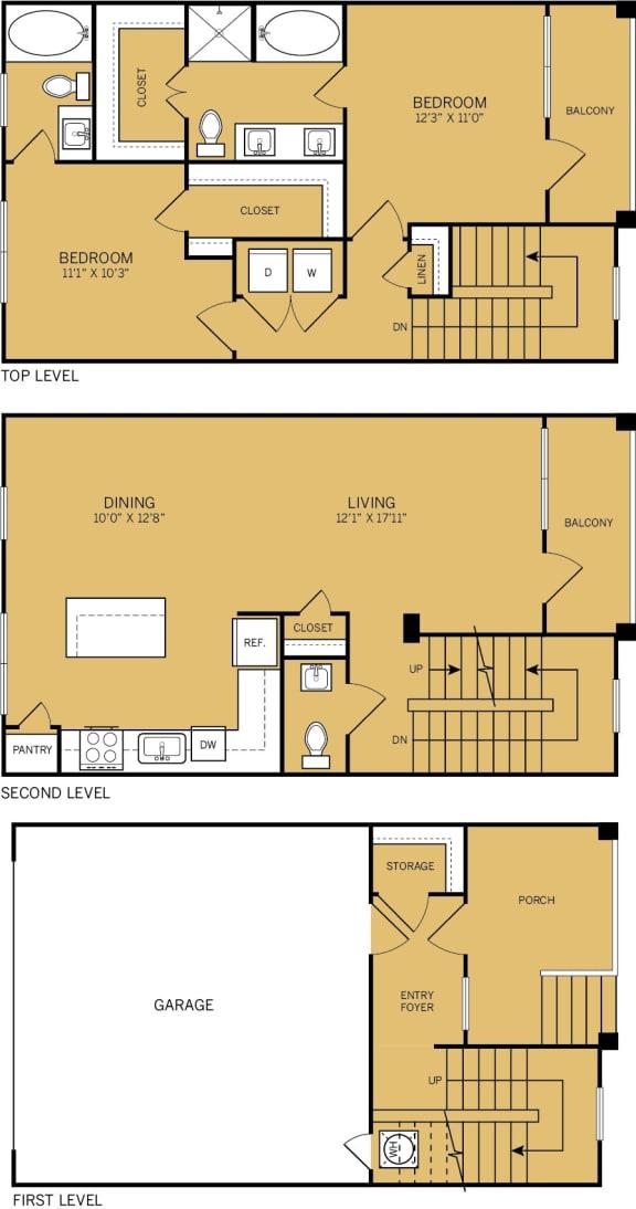 Floor Plan  2 Bedroom 2 Bathroom D Floor plan at The Kelley, Ft. Worth