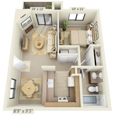 Sierra Glen 1x1 Floor Plan 634 Square Feet