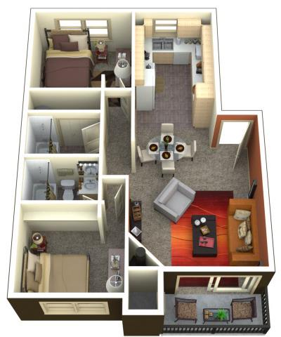 Chambers Creek Estates 2x2 Floor Plan 1045 Square Feet