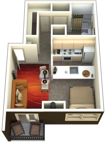 Chambers Creek Estates Studio 0x1 Floor Plan 546 Square Feet