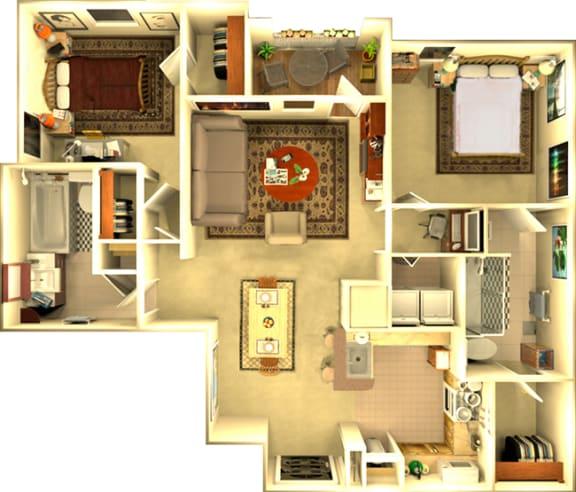 Floor Plan  The Atlanta 2 bedroom Floorplan