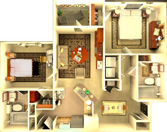 Floor Plan  The Barcelona 2 bedroom floorplan