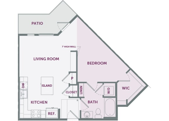 Element 25 apartments A2 1-bedroom 2D floor plan
