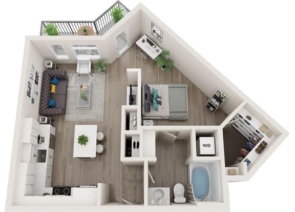 Element 25 apartments A2 1-bedroom 3D floor plan