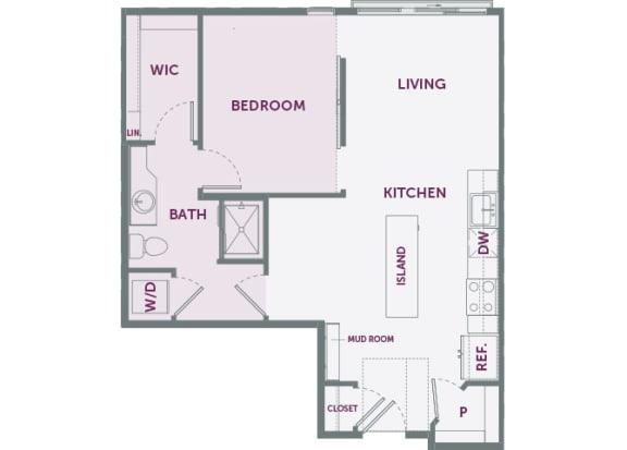 Element 25 apartments A3 1-bedroom 2D floor plan