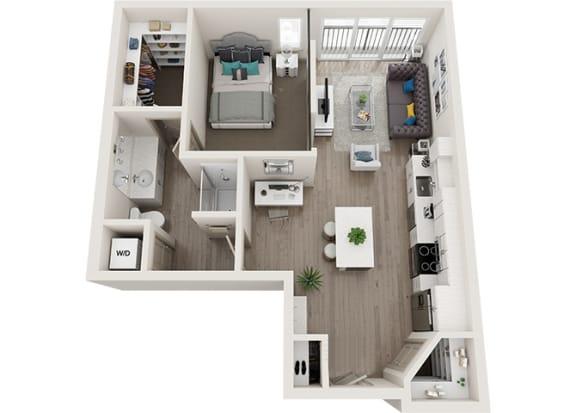 Element 25 apartments A3 1-bedroom 3D floor plan