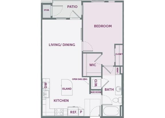 Element 25 apartments A4 1-bedroom 2D floor plan