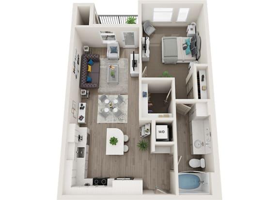Element 25 apartments A4 1-bedroom 3D floor plan