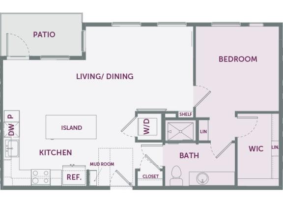 Element 25 apartments A5 1-bedroom 2D floor plan