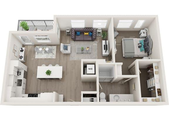 Element 25 apartments A5 1-bedroom 3D floor plan