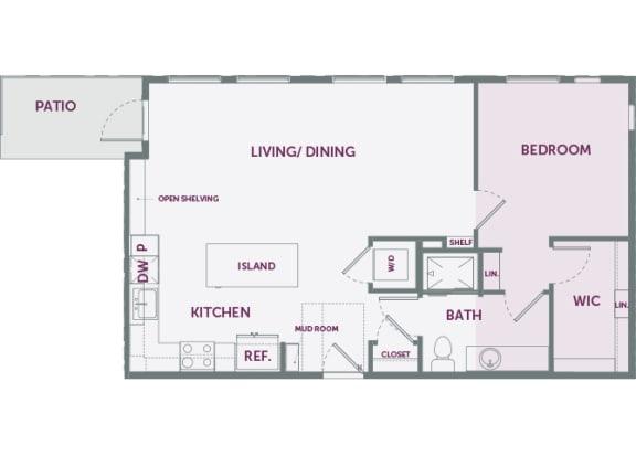 Element 25 apartments A5a 1-bedroom 2D floor plan