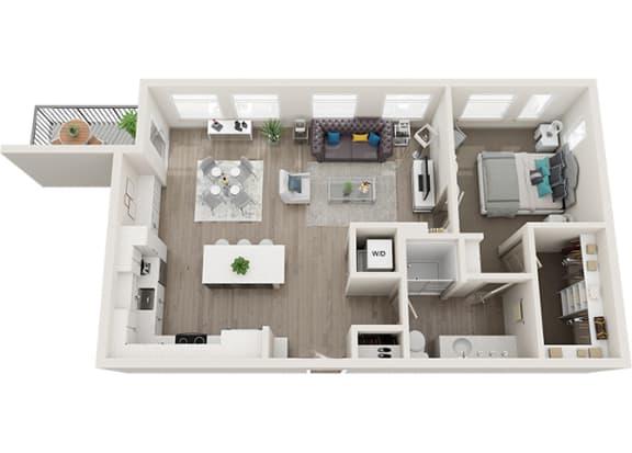 Element 25 apartments A5a 1-bedroom 3D floor plan