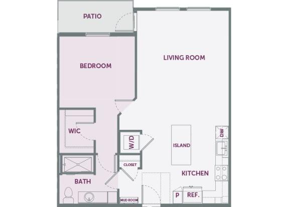 Element 25 apartments A6 1-bedroom 2D floor plan
