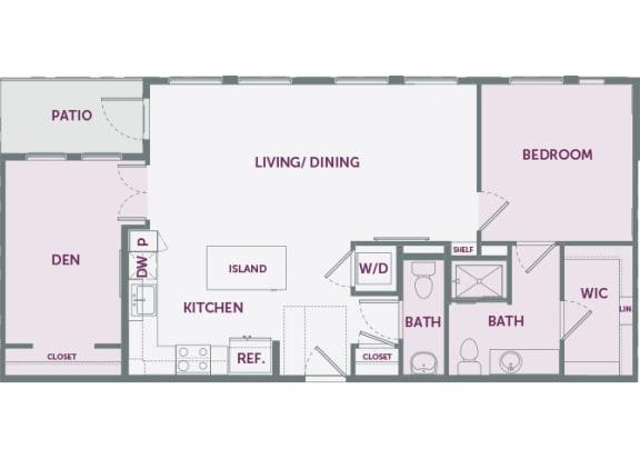 Element 25 apartments A7 1-bedroom 2D floor plan