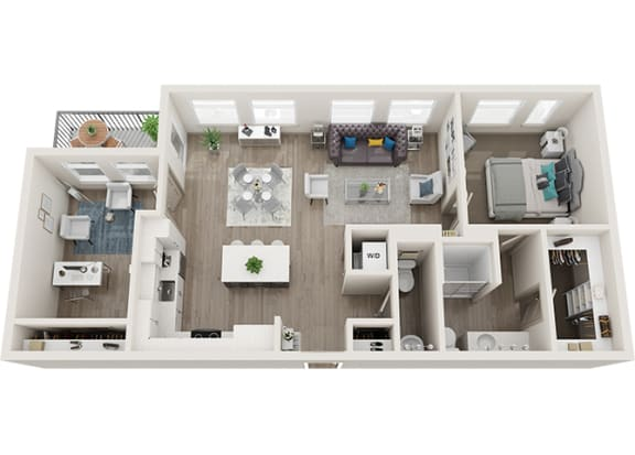 Element 25 apartments A7 1-bedroom 3D floor plan
