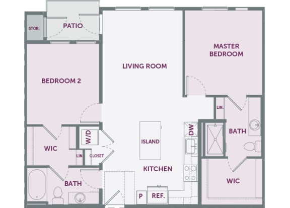 Element 25 apartments B2 2-bedroom 2D floor plan