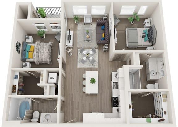 Element 25 apartments B2 2-bedroom 3D floor plan