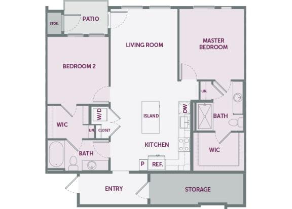 Element 25 B2a 2 bedroom floor plan 2d