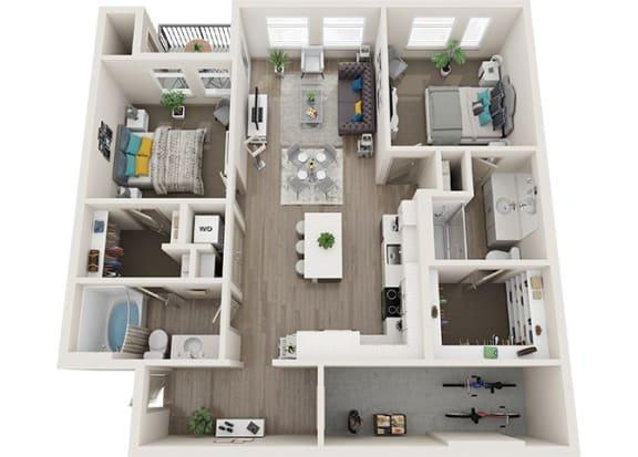 Element 25 B2a 3d 2 Bedroom floor plan