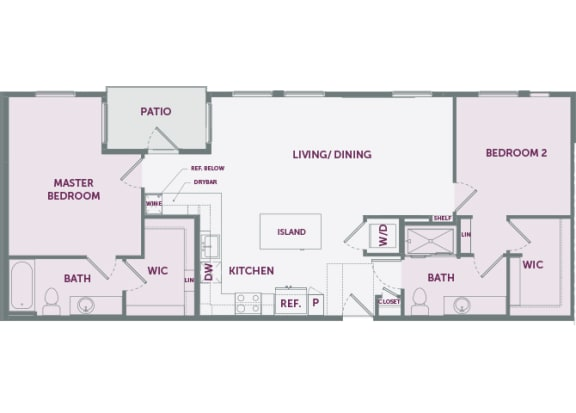 Element 25 apartments B3 2-bedroom 2D floor plan