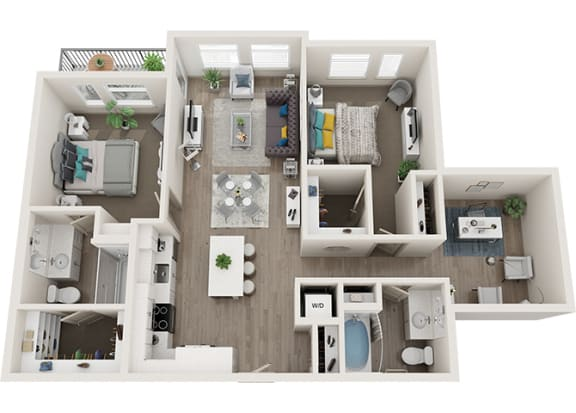 Element 25 apartments B4 2-bedroom 3D floor plan