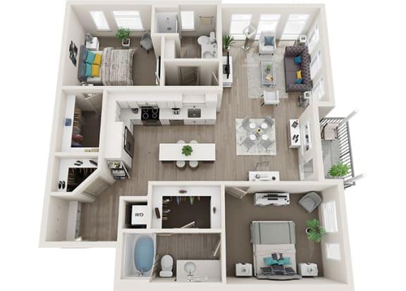 Element 25 apartments B5 2-bedroom 3D floor plan